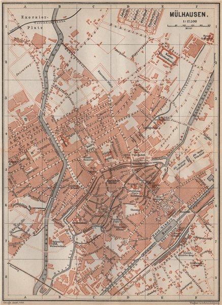 Associate Product MULHOUSE(MÜLHAUSEN MILHÜSA MILHÜSE) town city plan. Bas-Rhin, Alsace 1892 map