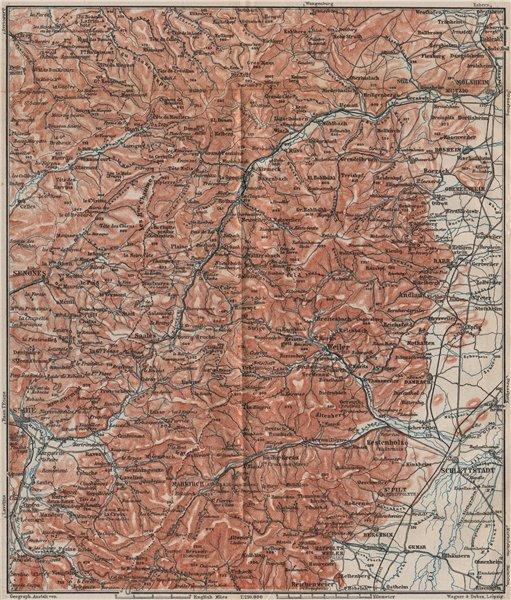 Associate Product CENTRAL VOSGES MOUNTAINS. St Die Schlettstadt Molsheim carte. BAEDEKER 1892 map