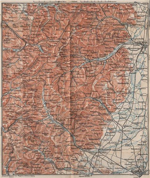 Associate Product SOUTHERN VOSGES MOUNTAINS. Colmar Mulhouse. Haut-Rhin carte. BAEDEKER 1892 map