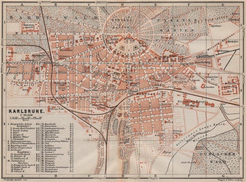 Associate Product KARLSRUHE antique town city stadtplan. Baden-Württemberg karte 1892 old map