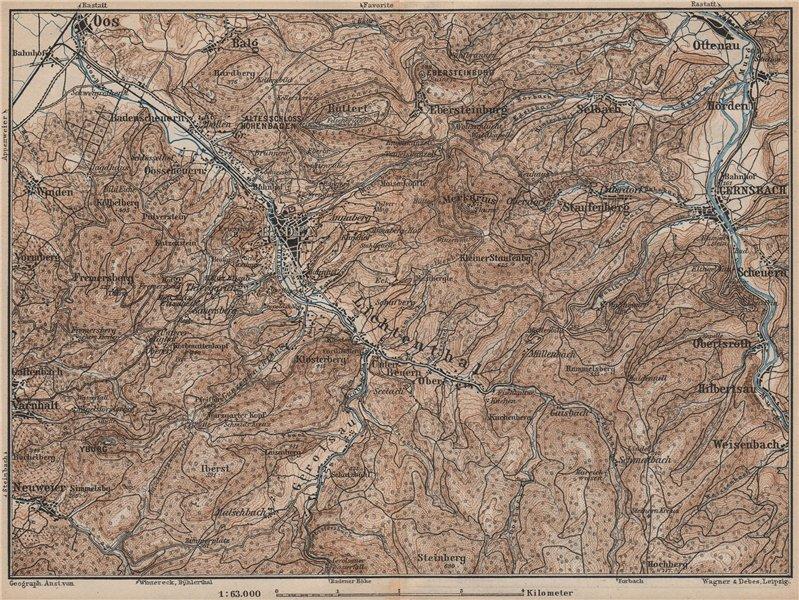 Associate Product BADEN-BADEN environs umgebung. Lichtental Oos Schwarzwald Black Forest 1892 map