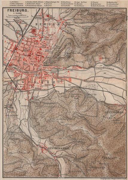 Associate Product FREIBURG town city stadtplan & umgebung. Gunterstal. Baden-Württemberg 1892 map