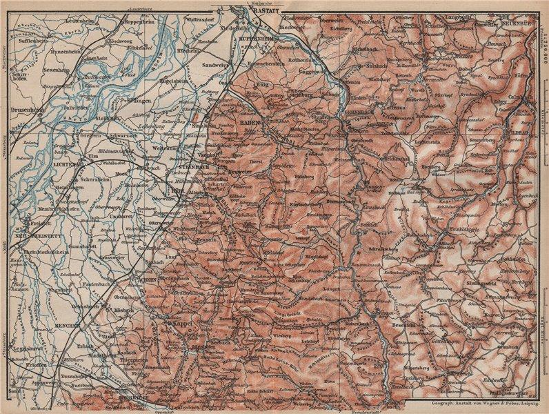NORDSCHWARZWALD. NORTHERN BLACK FOREST. Baden-Baden Wildbad. Germany 1892 map