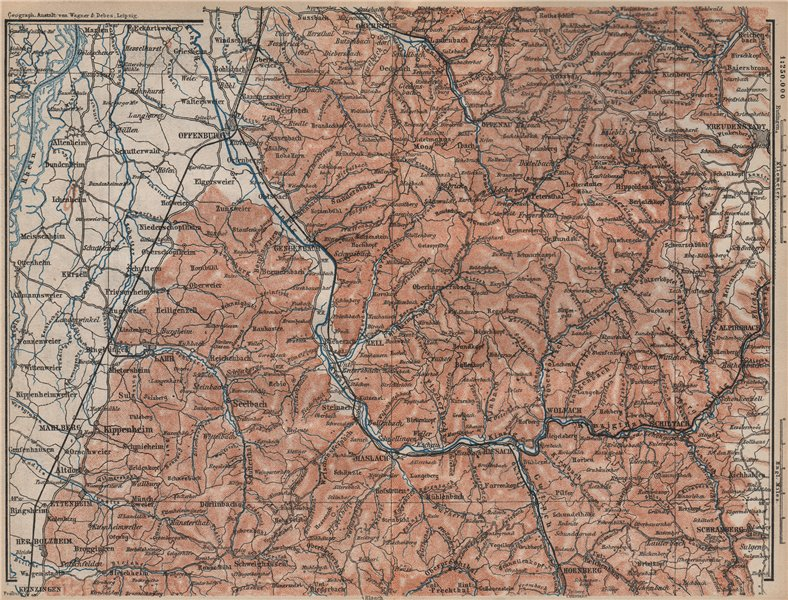 MITTEL SCHWARZWALD. CENTRAL BLACK FOREST. Offenburg Wolfach Schramberg 1892 map