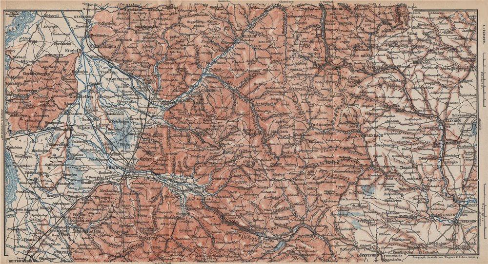 Associate Product SÜDSCHWARZWALD. SOUTHERN BLACK FOREST. Freiburg Villingen. Germany 1892 map