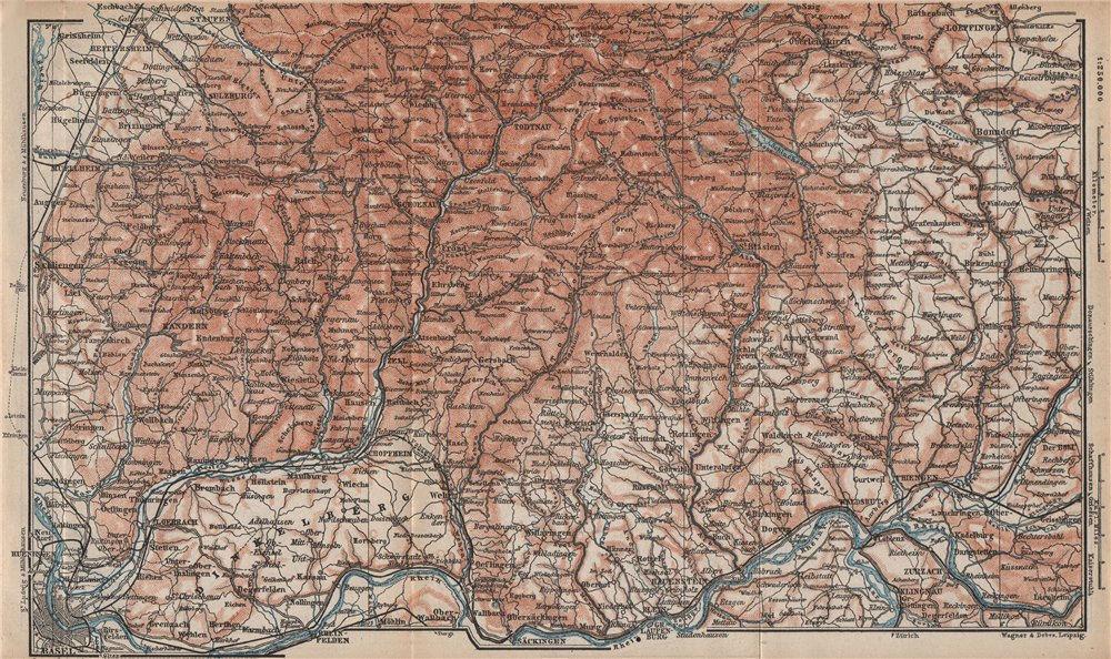 Associate Product SÜDSCHWARDWALD. BLACK FOREST SOUTHERN VALLEYS. Basel Lörrach Schopfheim 1892 map