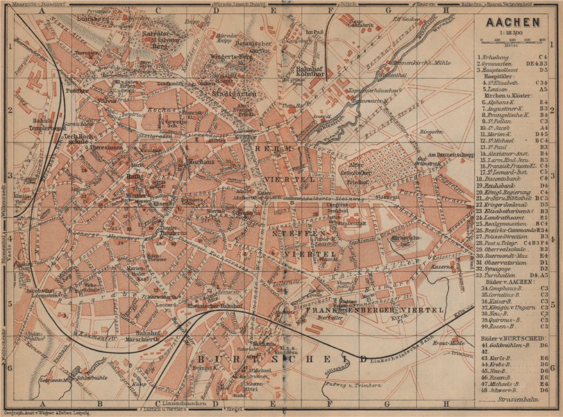 Associate Product AACHEN town city stadtplan. Northrhine-Westfalia. Aix-la-Chapelle 1903 old map