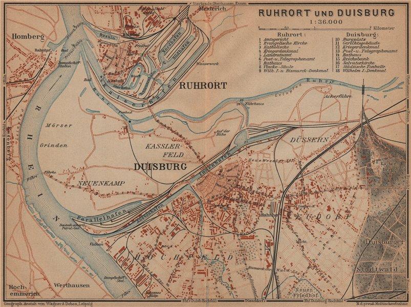 Associate Product DUISBURG & RUHRORT town city stadtplan Northrhine-Westfalia Ruhrgebiet 1903 map
