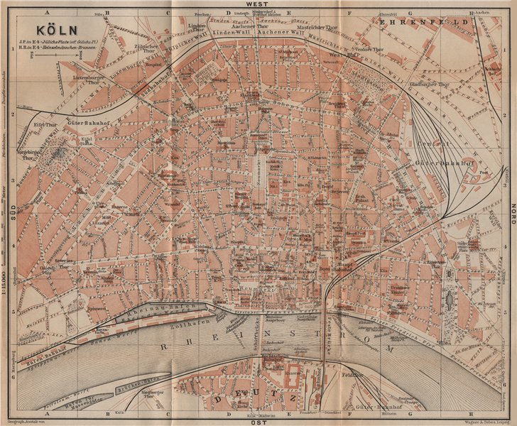 Associate Product KÖLN (COLOGNE) town city stadtplan. Northrhine-Westfalia. Koln karte 1903 map