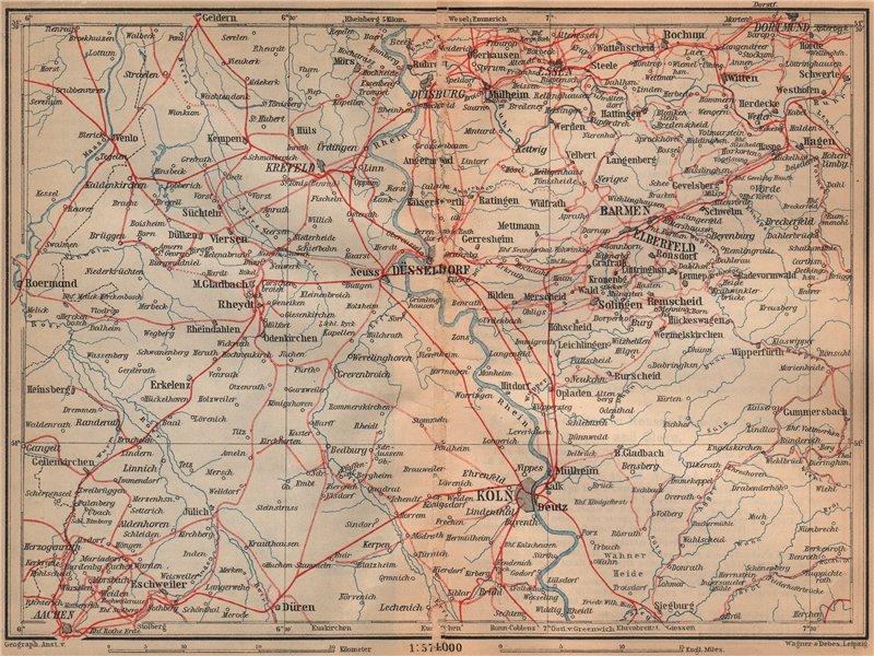 Associate Product Metropolregion Rhine/Rhein-Ruhr Eisenbahnen Köln Dusseldorf Duisburg 1903 map