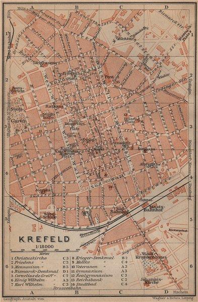 Associate Product KREFELD town city stadtplan. Northrhine-Westfalia. Crefeld karte 1903 old map