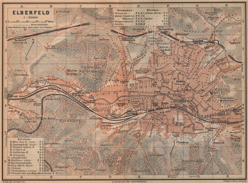 Associate Product ELBERFELD / WUPPERTAL  antique town city stadtplan. Germany karte 1903 old map