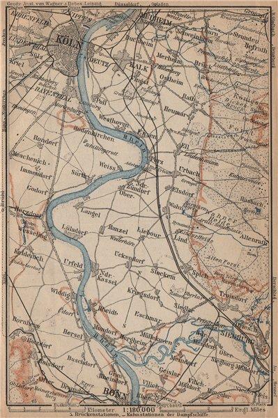 Associate Product THE RHINE/RHEIN from/von COLOGNE KÖLN to/nach BONN. Deutschland karte 1903 map
