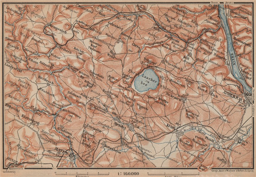 Associate Product LAACHER SEE. Vulkaneifel topo-map Andernach Mayen Rhineland-Palatinate 1903