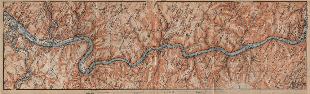 Associate Product RHINE/RHEIN. KOBLENZ-BINGEN Oberes Mittelrheintal Rhine Gorge topo-map 1903