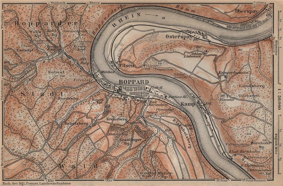 Associate Product BOPPARD & OSTERSPAI. Filsen. Oberes Mittelrheintal. Rhine Gorge karte 1903 map