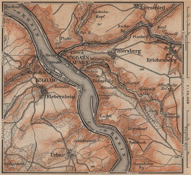 Associate Product SANKT GOAR ST GOARSHAUSEN Oberes Mittelrheintal Rhine Gorge karte SMALL 1903 map