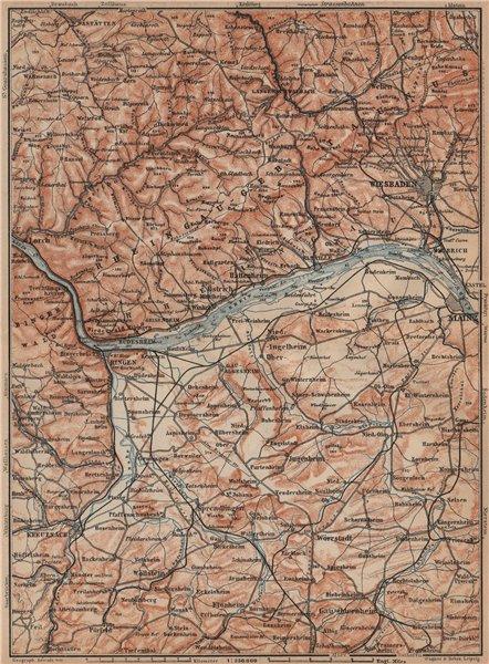 Associate Product THE RHEINGAU topo-map. Wiesbaden Lorch Rüdesheim Mainz. Germany karte 1903