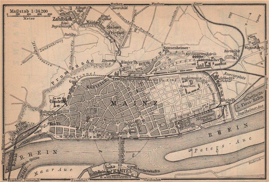 Associate Product MAINZ environs umgebung. Mayence. Rhineland-Palatinate.Deutschland 1903 map