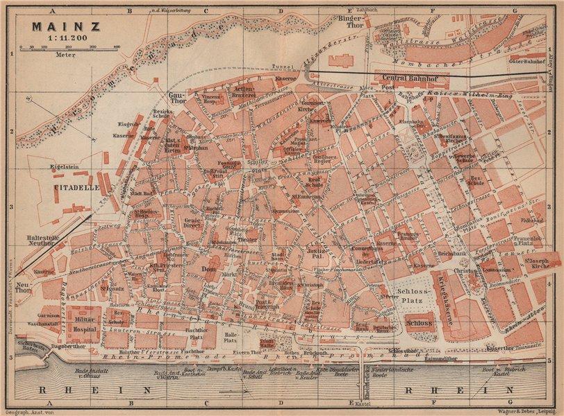 Associate Product MAINZ antique town city stadtplan. Rhineland-Palatinate. Mayence karte 1903 map