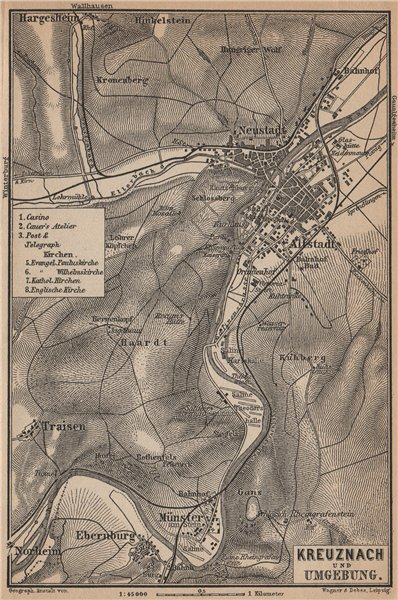 Associate Product BAD KREUZNACH und umgebung/environs. Rhineland-Palatinate karte 1903 old map