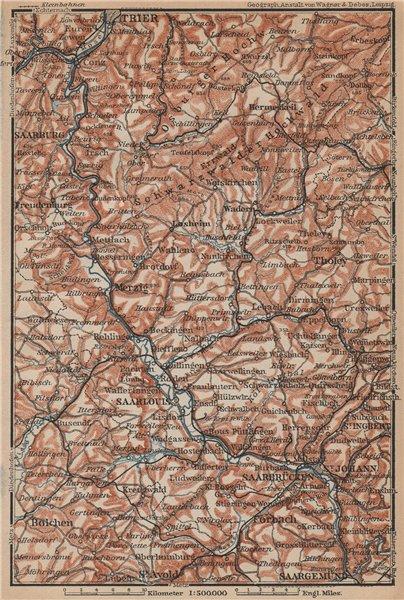 Associate Product SAAR SARRE RIVER VALLEY. Trier Saarbruckem Saarlouis Saarburg karte 1903 map