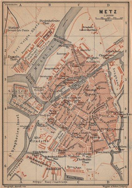 Associate Product METZ antique town city stadtplan. Moselle carte. BAEDEKER 1903 old map