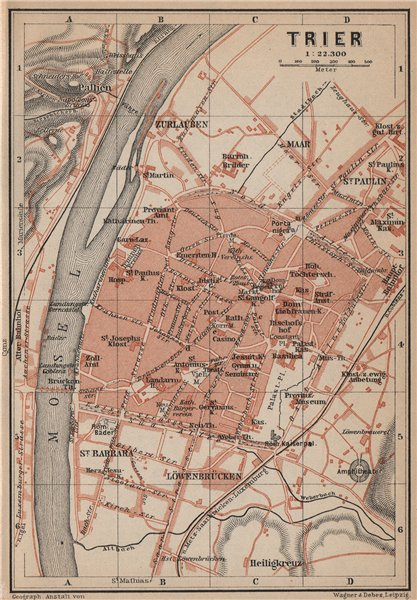 Associate Product TRIER town city stadtplan. Rhineland-Palatinate. Trèves Treves karte 1903 map