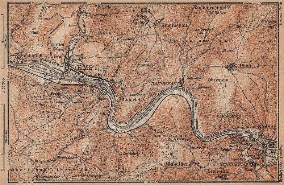 Associate Product BAD EMS & NASSAU environs. Dausenau Lahn. Deutschland karte. BAEDEKER 1903 map