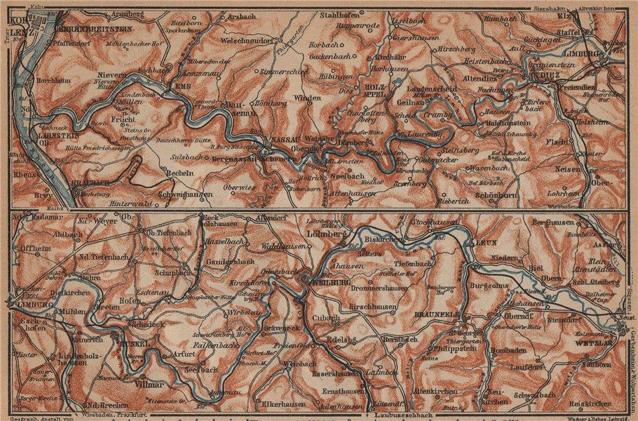 Associate Product LAHNTAL VALLEY. LahnsteinKoblenz Wetzlar Limburg WeilburgBad Ems 1903 map
