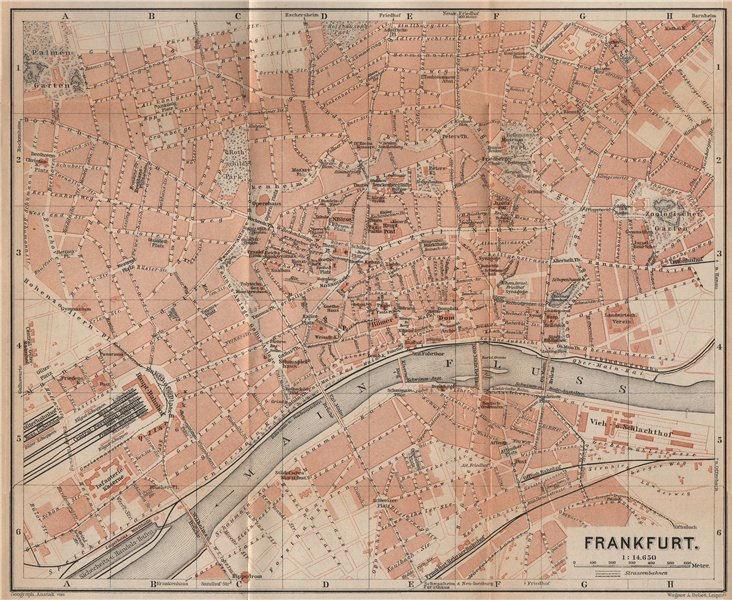 Associate Product FRANKFURT AM MAIN antique town city stadtplan. Hessen karte. BAEDEKER 1903 map