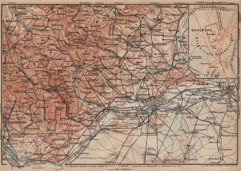 Associate Product TAUNUS Mountains. Wiesbaden Frankfurt am Main Hanau. Deutschland karte 1903 map