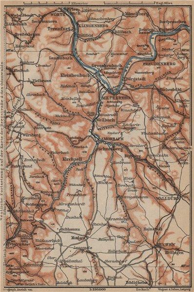 Associate Product ÖST/EAST ODENWALD topo-map. Miltenberg Walldürn Klingenburg. Germany 1903