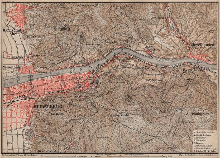 Associate Product HEIDELBERG & environs ungebung. Ziegelhausen. Baden-Württemberg karte 1903 map