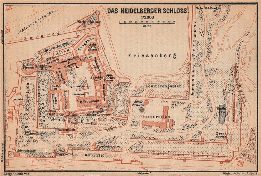 Associate Product HEIDELBERGER SCHLOSS Castle. Ground plan. Baden-Württemberg karte 1903 old map