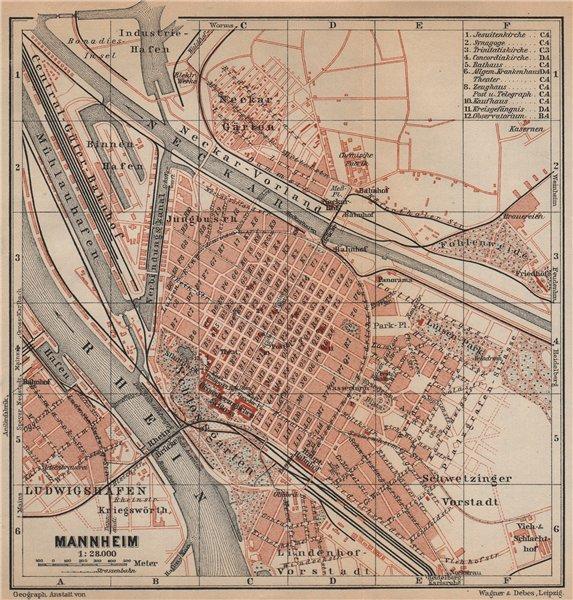 Associate Product MANNHEIM antique town city stadtplan. Baden-Württemberg karte 1903 old map