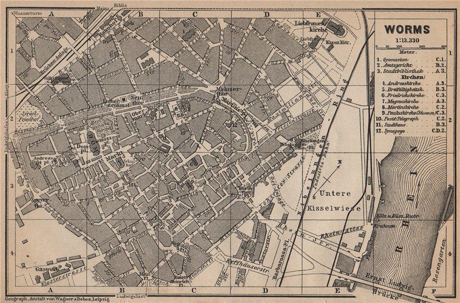 Associate Product WORMS town city stadtplan. Rhineland-Palatinate, Deutschland karte 1903 map