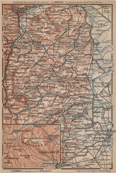 Associate Product RHEINHESSEN. RHENISH HESSE. Mainz Mannheim Worms Kreuznach. Germany 1903 map