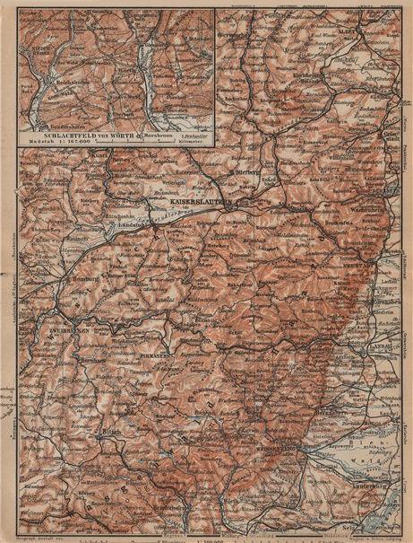 Associate Product PFÄLZERWALD. PALATINATE FOREST. Rheinpfalz. Kaiserslautern Weissenburg 1903 map