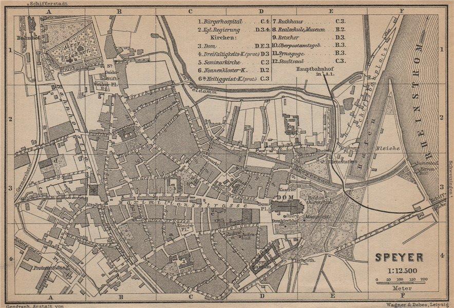 Associate Product SPEYER town city stadtplan. Rhineland-Palatinate, Deutschland. Spires 1903 map