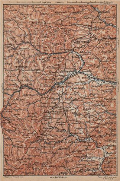 Associate Product NORTHERN VOSGES MOUNTAINS. Wasselonne Saverne Phalsbourg. Bas-Rhin 1903 map