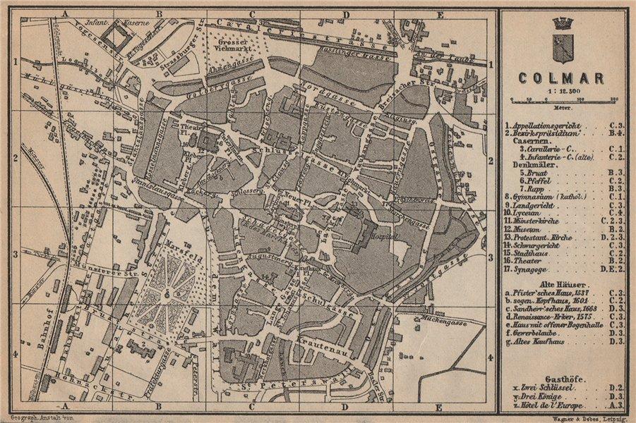 Associate Product COLMAR town city plan. Haut-Rhin, Alsace, France. Kolmar Colmer carte 1903 map