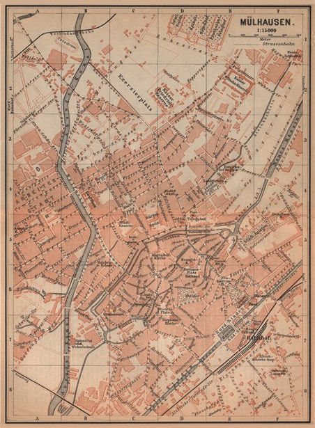 Associate Product MULHOUSE(MÜLHAUSEN MILHÜSA MILHÜSE) town city plan. Bas-Rhin, Alsace 1903 map