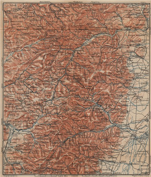 Associate Product CENTRAL VOSGES MOUNTAINS. St Die Schlettstadt Molsheim carte. BAEDEKER 1903 map