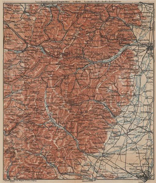 Associate Product SOUTHERN VOSGES MOUNTAINS. Colmar Mulhouse. Haut-Rhin carte. BAEDEKER 1903 map