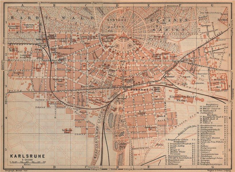 Associate Product KARLSRUHE antique town city stadtplan. Baden-Württemberg karte 1903 old map