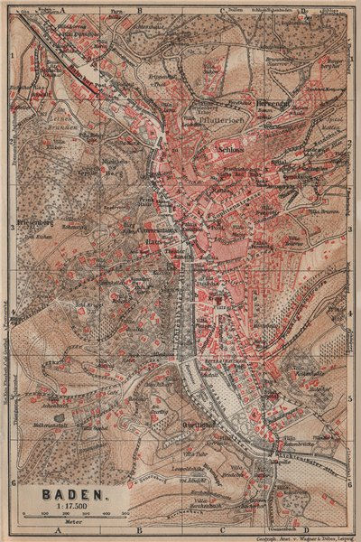 Associate Product BADEN-BADEN town city stadtplan & environs/umgebung. Germany karte 1903 map