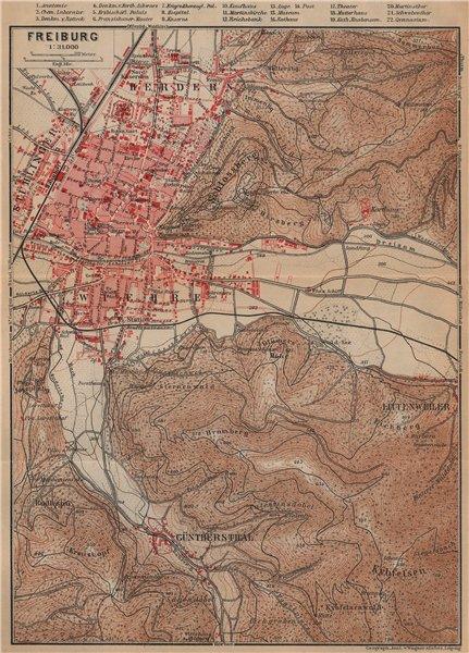 Associate Product FREIBURG town city stadtplan & umgebung. Gunterstal. Baden-Württemberg 1903 map