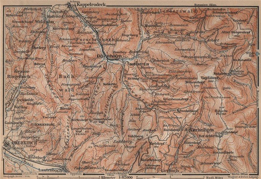 SCHWARZWALD. BLACK FOREST. Oberkirch Ottenhöfen Kloster Allerheiligen 1903 map