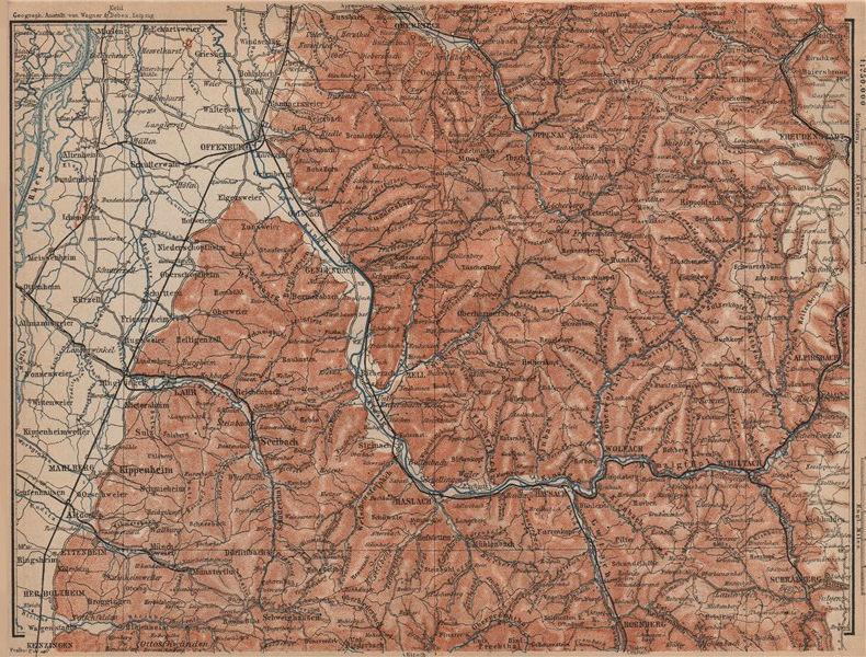 Associate Product MITTEL SCHWARZWALD. CENTRAL BLACK FOREST. Offenburg Wolfach Schramberg 1903 map